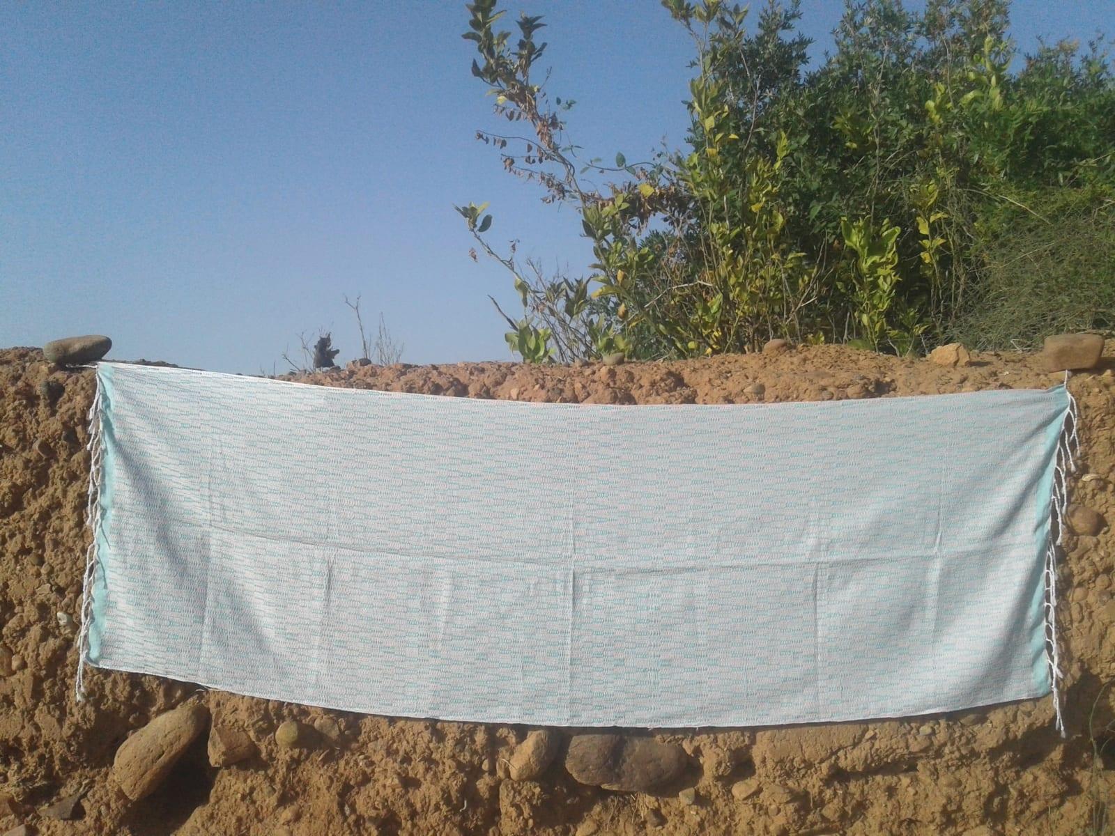 Shawl Cotton Thread Light Blue, White Morocco