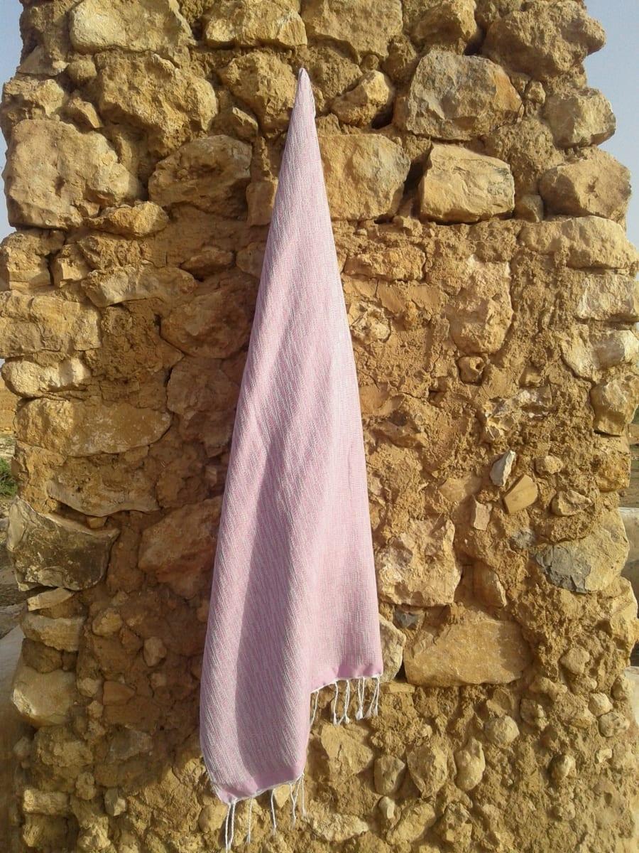 Shawl Cotton Thread Pink, Grey Morocco