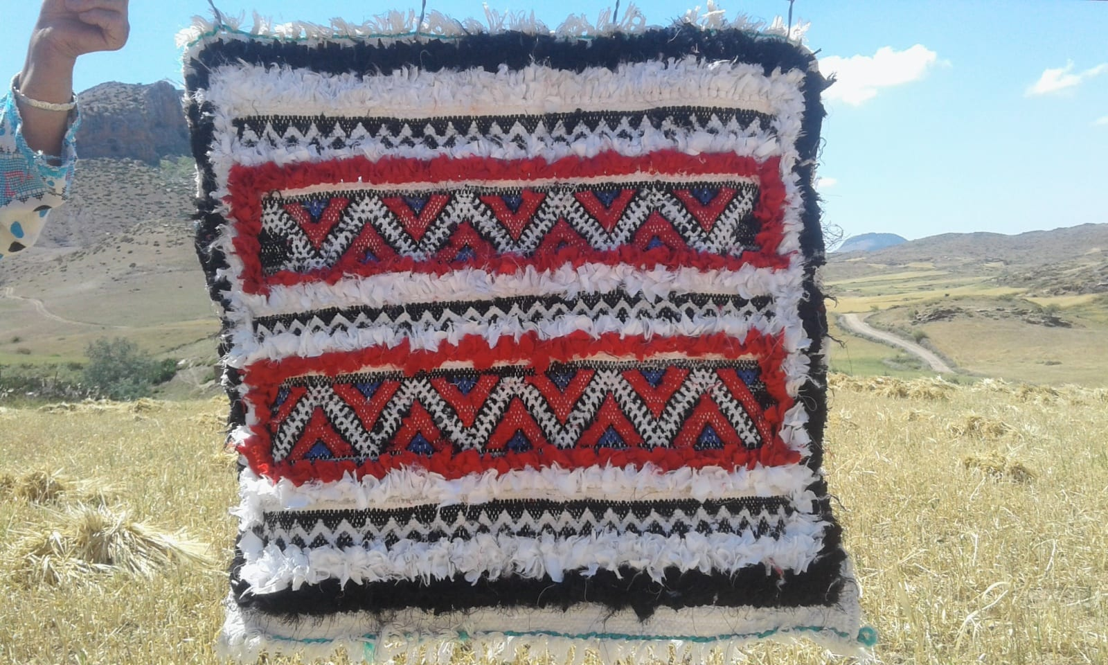 Boucharouite Rag Fabric Red, Black Morocco