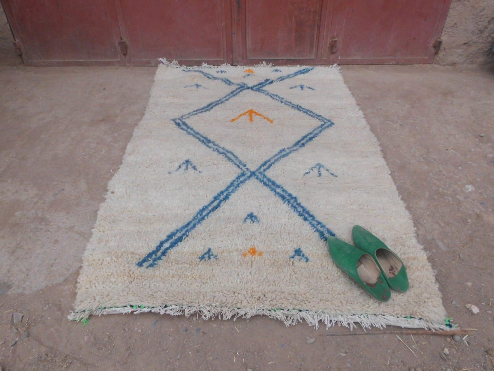 Pile Knot Rug  Yellow, Grey Morocco