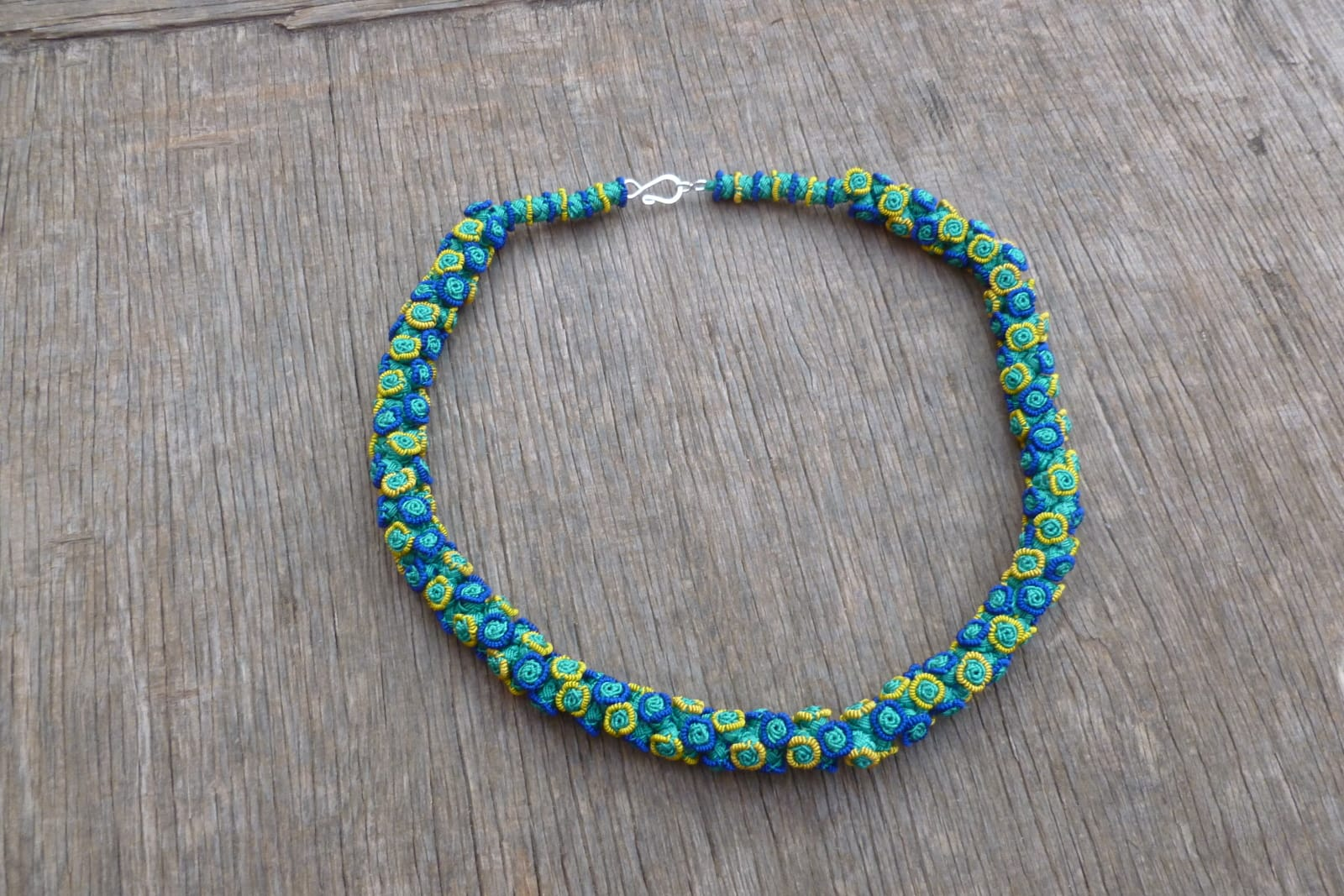 Cluster Necklace  Blue, Yellow Morocco