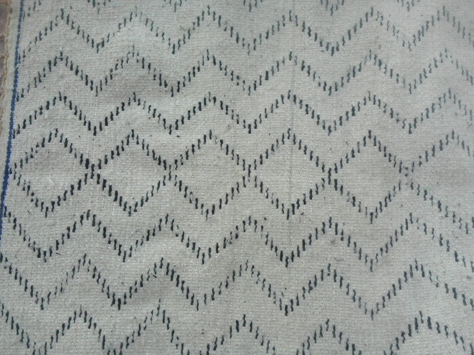 Pile Knot Rug Wool Black, White Morocco