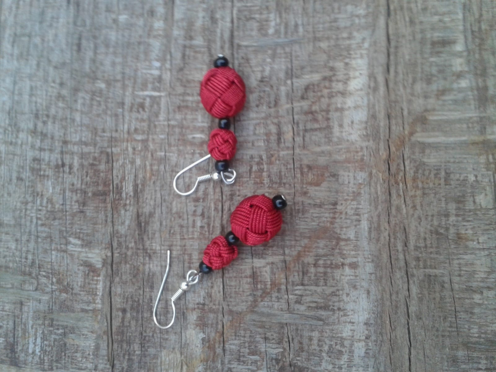 Ball and Button Earrings  Red Morocco