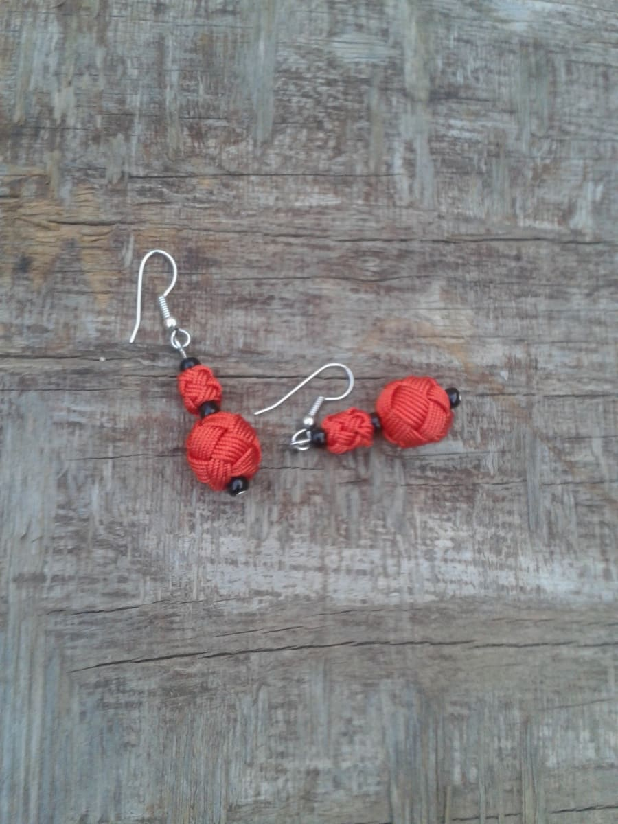 Ball and Button Earrings  Orange Morocco