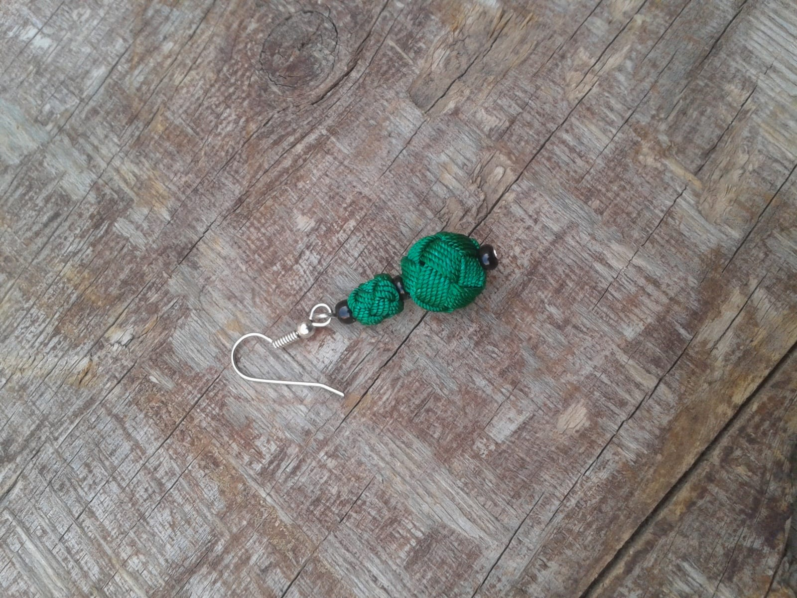 Ball and Button Earrings  Green Morocco