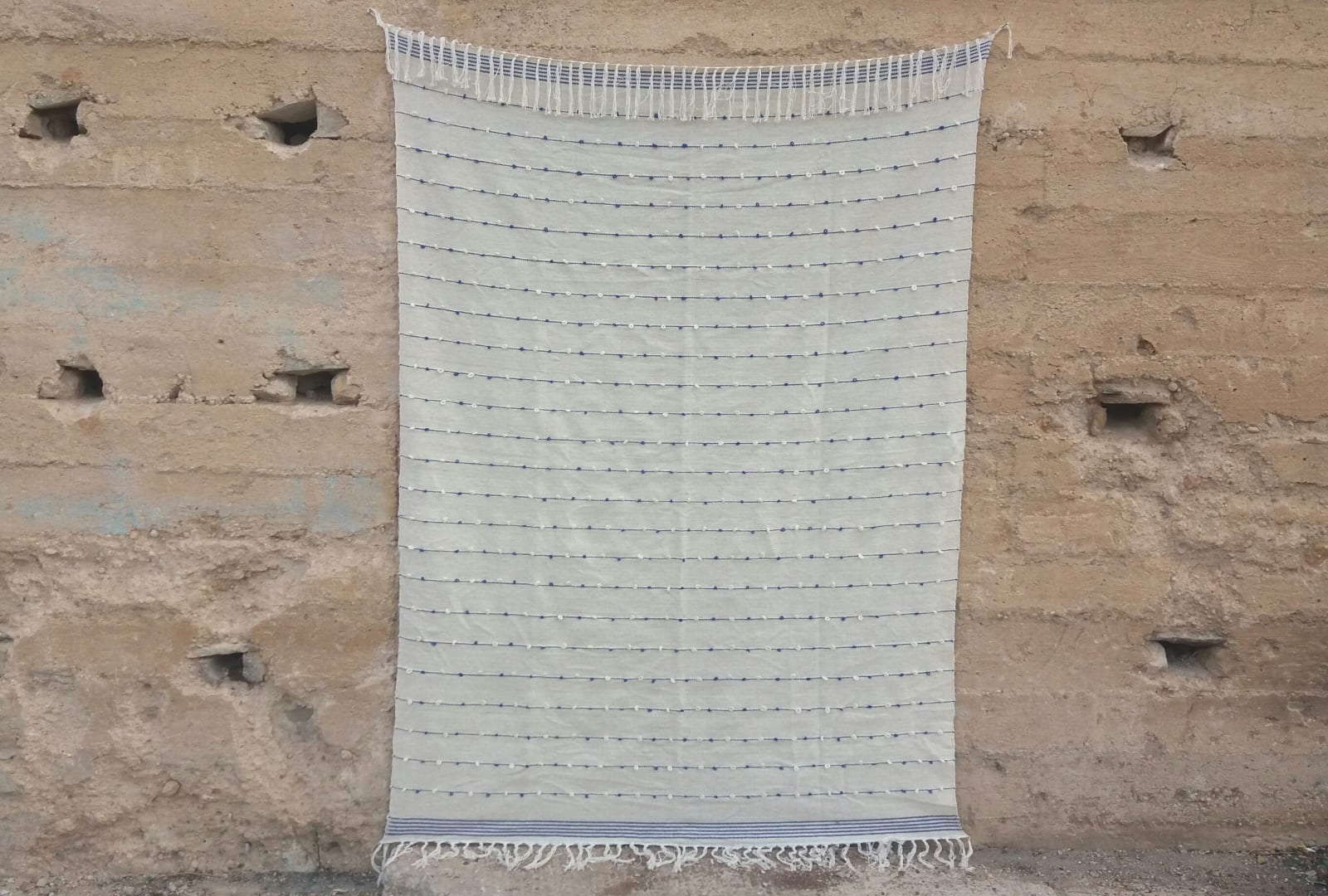 Hanbel Cover Cotton and Wool Blue, White Morocco