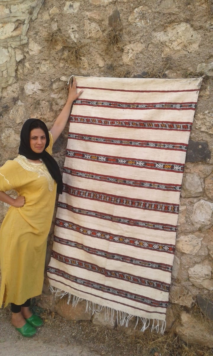 Hanbel Wool Red, White Morocco