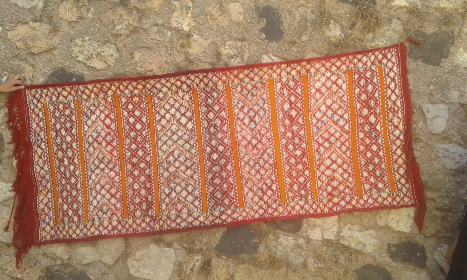 Hanbel Dyed Wool Red, Orange Morocco