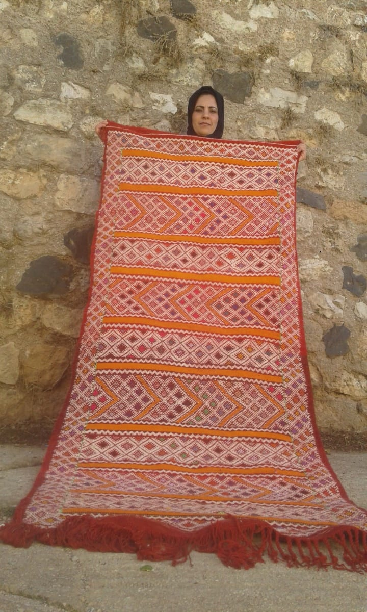 Hanbel Dyed Wool Red, Orange Morocco