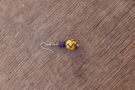 Ball and Button Earrings  Purple, Yellow Morocco