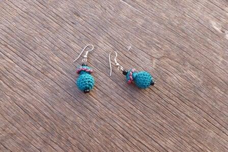 Multi Button Earrings  Pink, Green Morocco