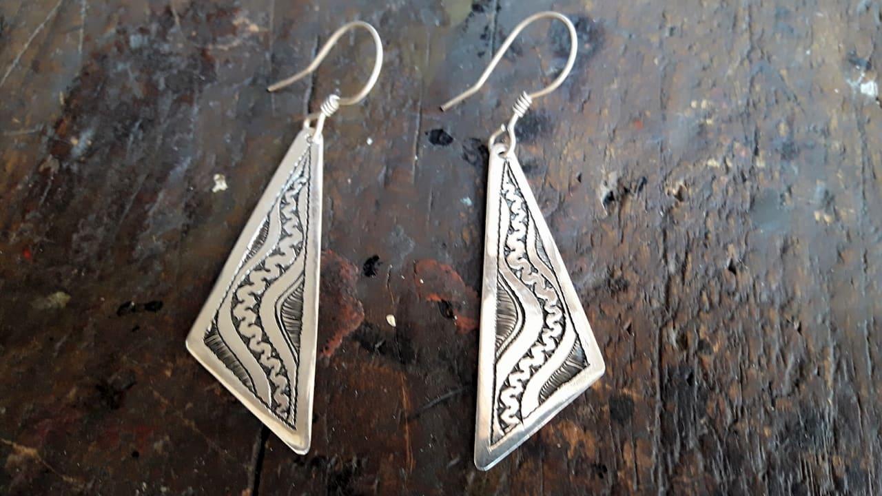 Earrings 800 Tiznit Silver Blue, Black Morocco