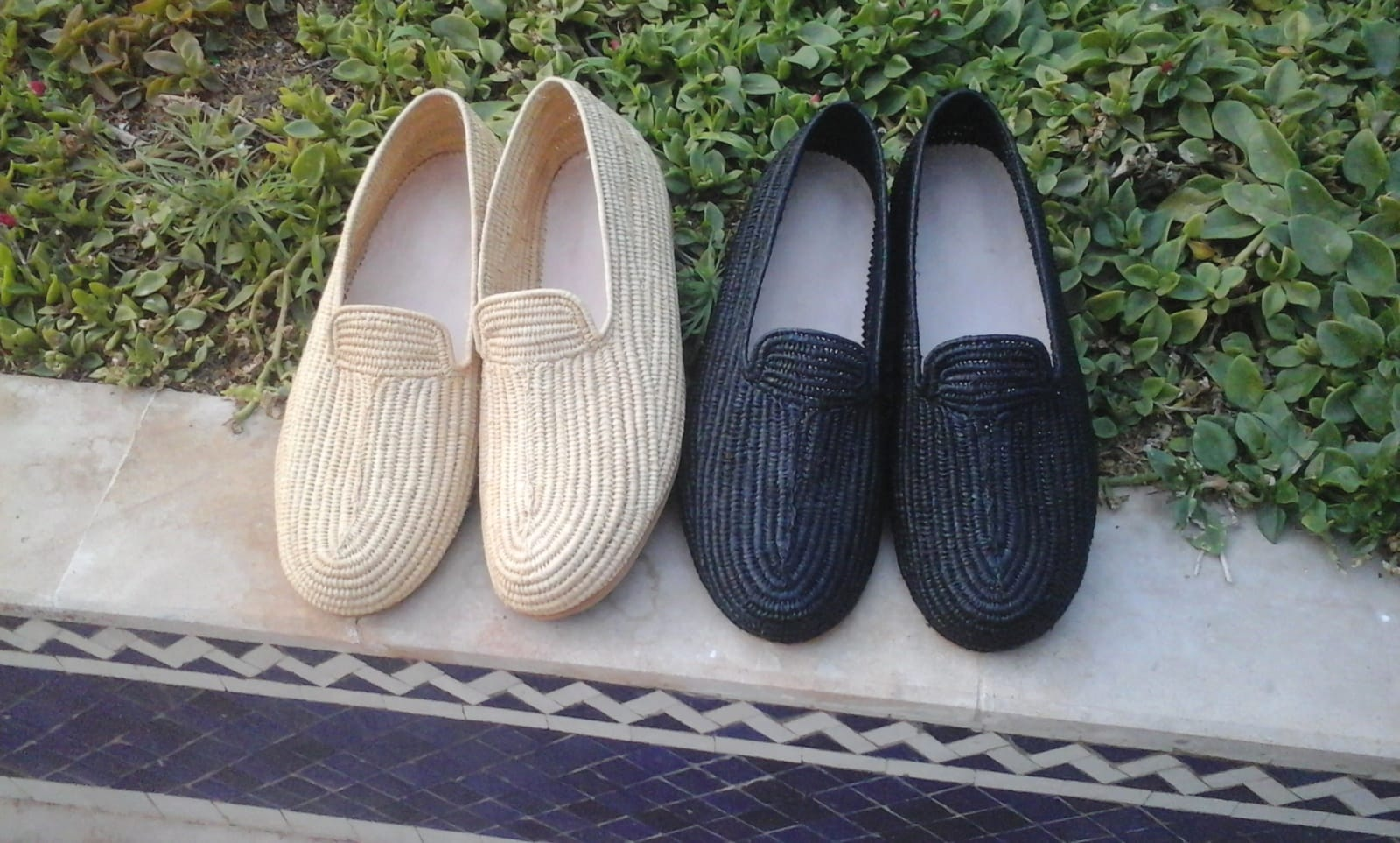 Boho Shoes Dyed rafia fibers Black Morocco