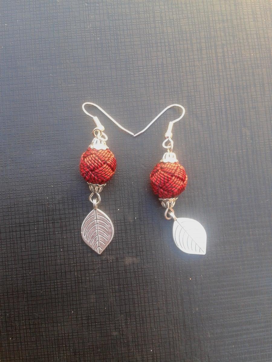 Button Dangle Earrings  Red, Black Morocco