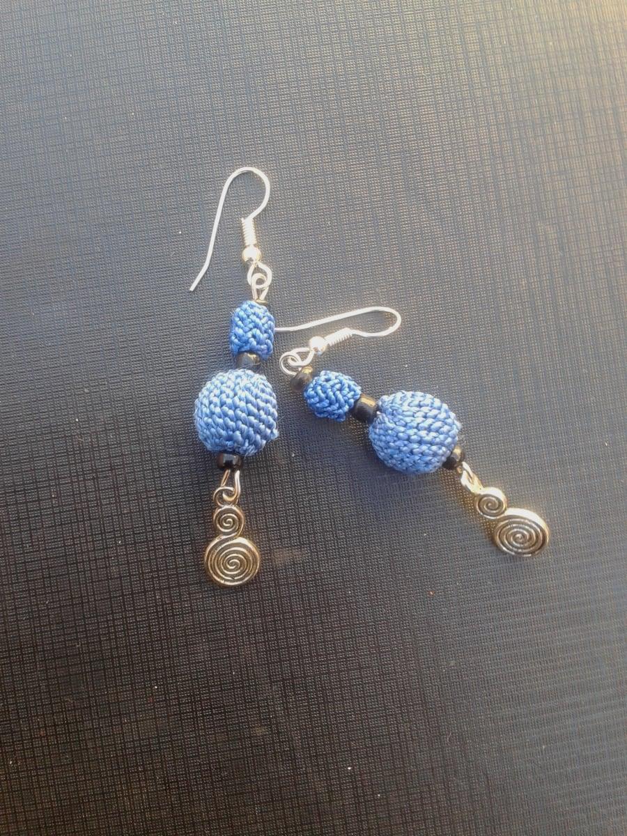Button Dangle Earrings  Blue Morocco