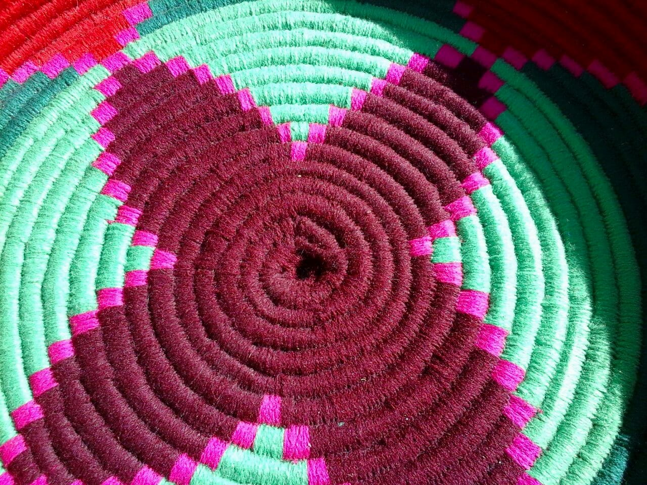 Basket Dyed Wool and Reed Red, Pink Morocco