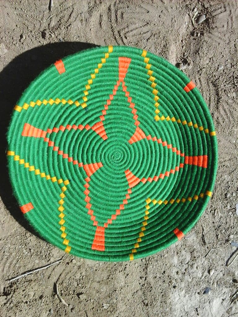 Basket Dyed Wool and Reed Yellow, Green Morocco