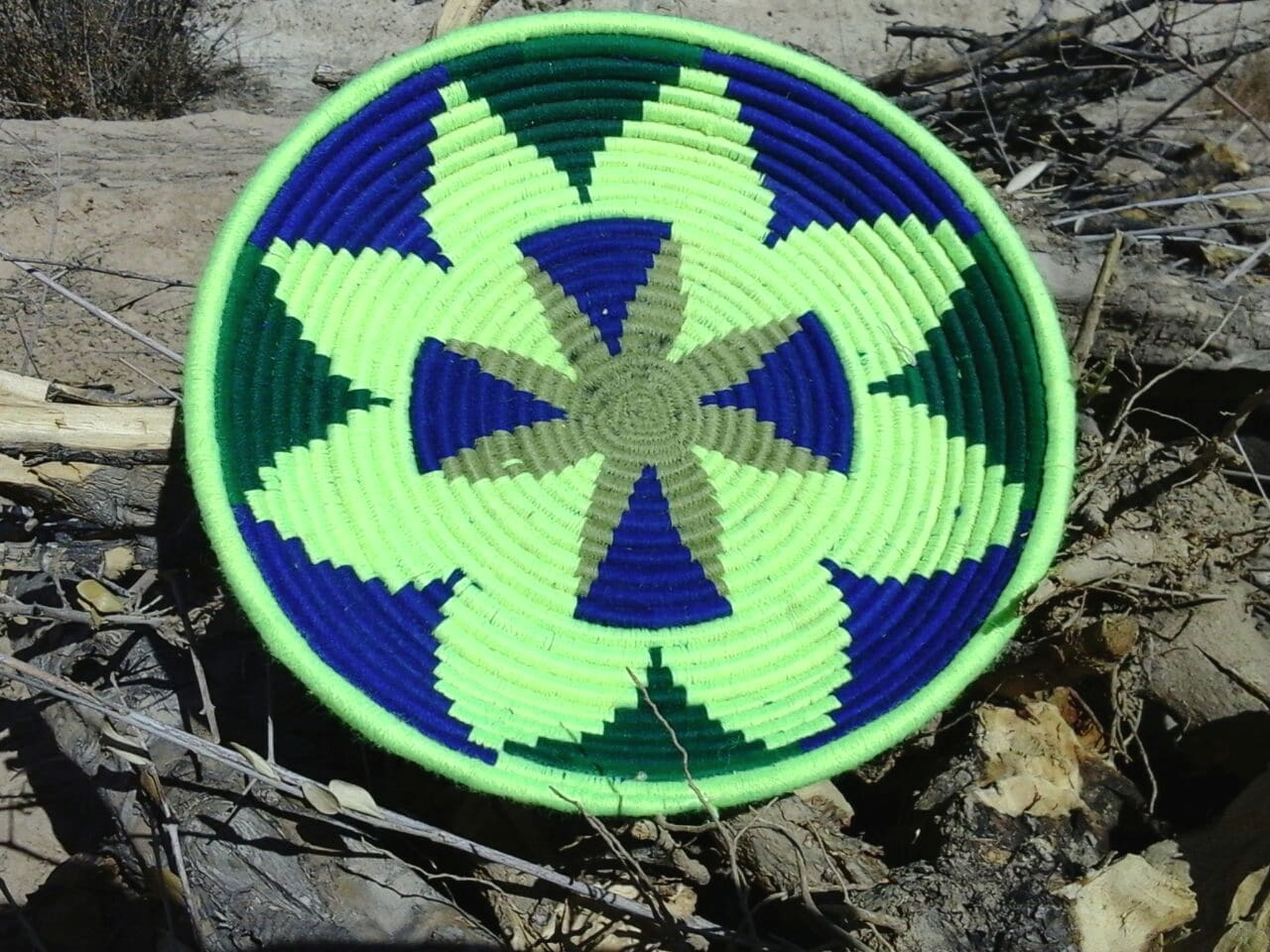 Basket Dyed Wool and Reed Blue, Green Morocco