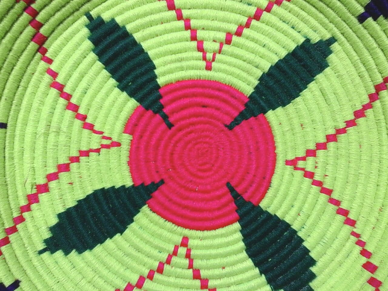 Basket Dyed Wool and Reed Pink, Green Morocco