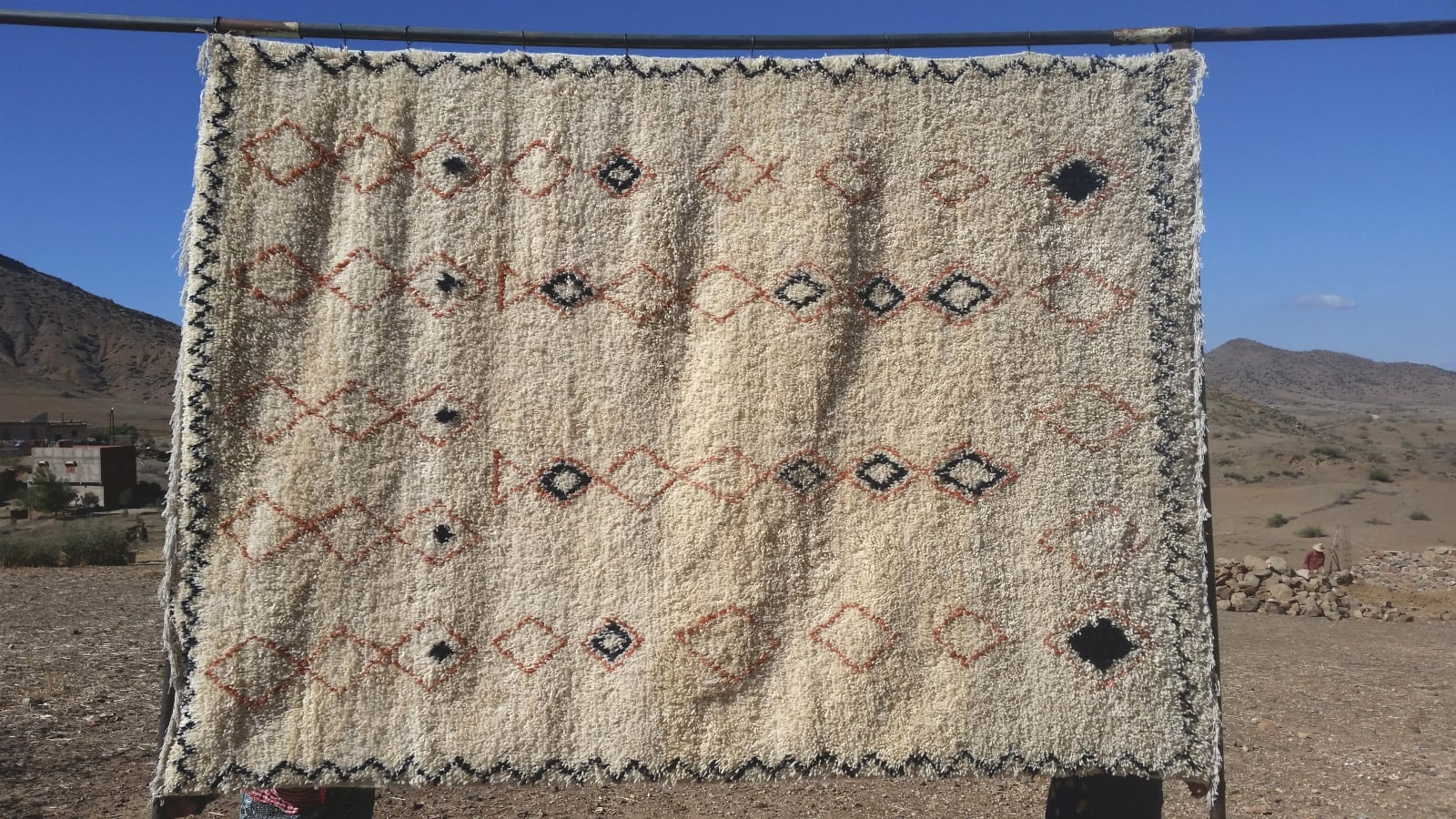 Pile Knot Rug  Brown, Black Morocco