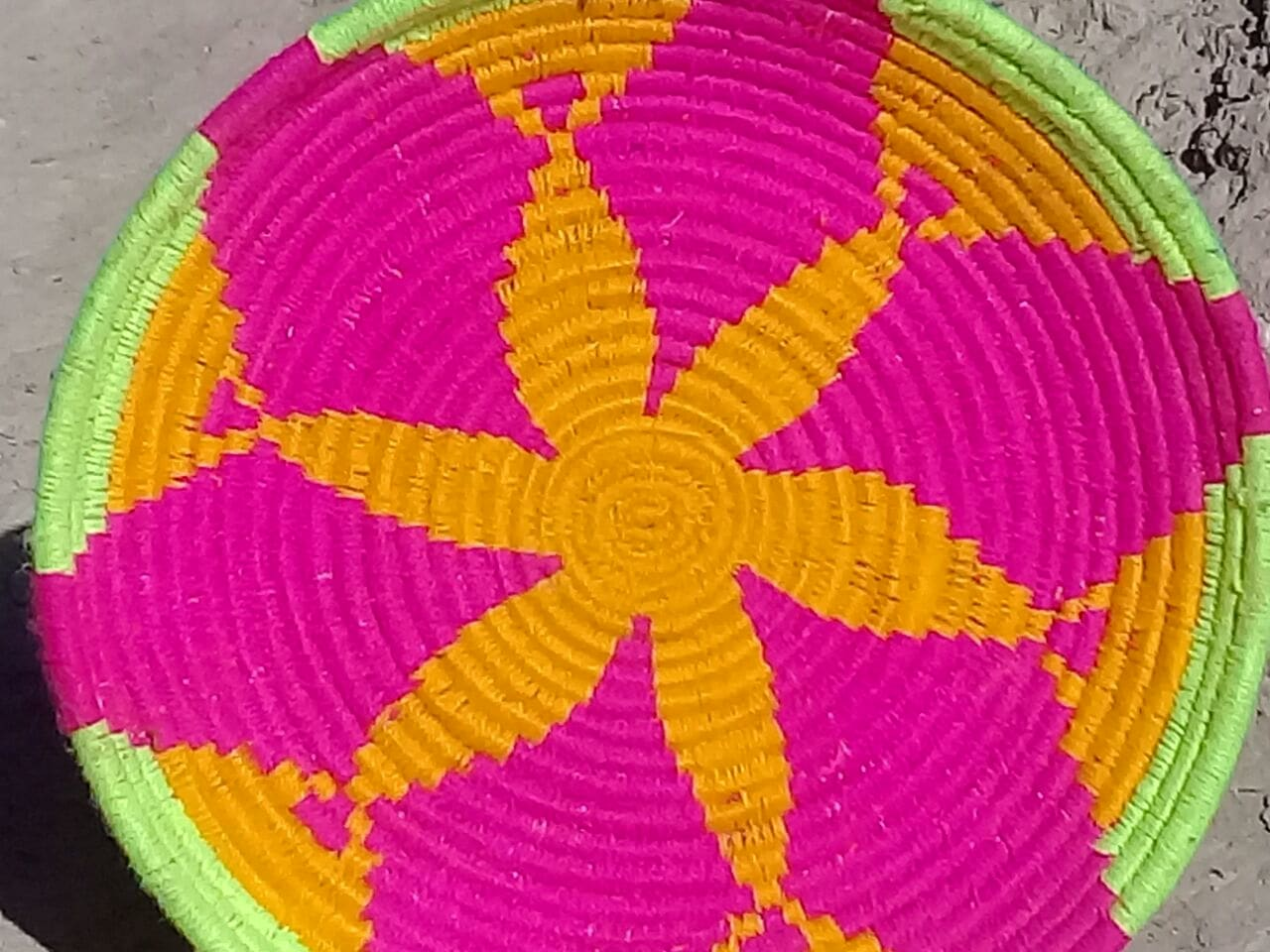 Basket Dyed Wool and Reed Pink, Yellow Morocco