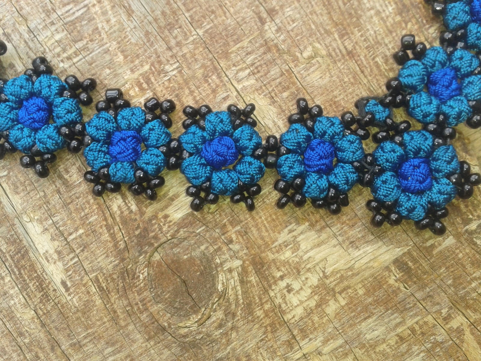 Cluster Necklace  Blue, Black Morocco