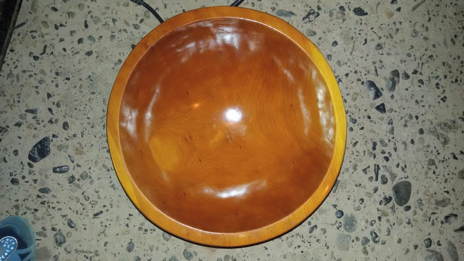 Hand Carved Bowl Juniper Wood Orange Morocco