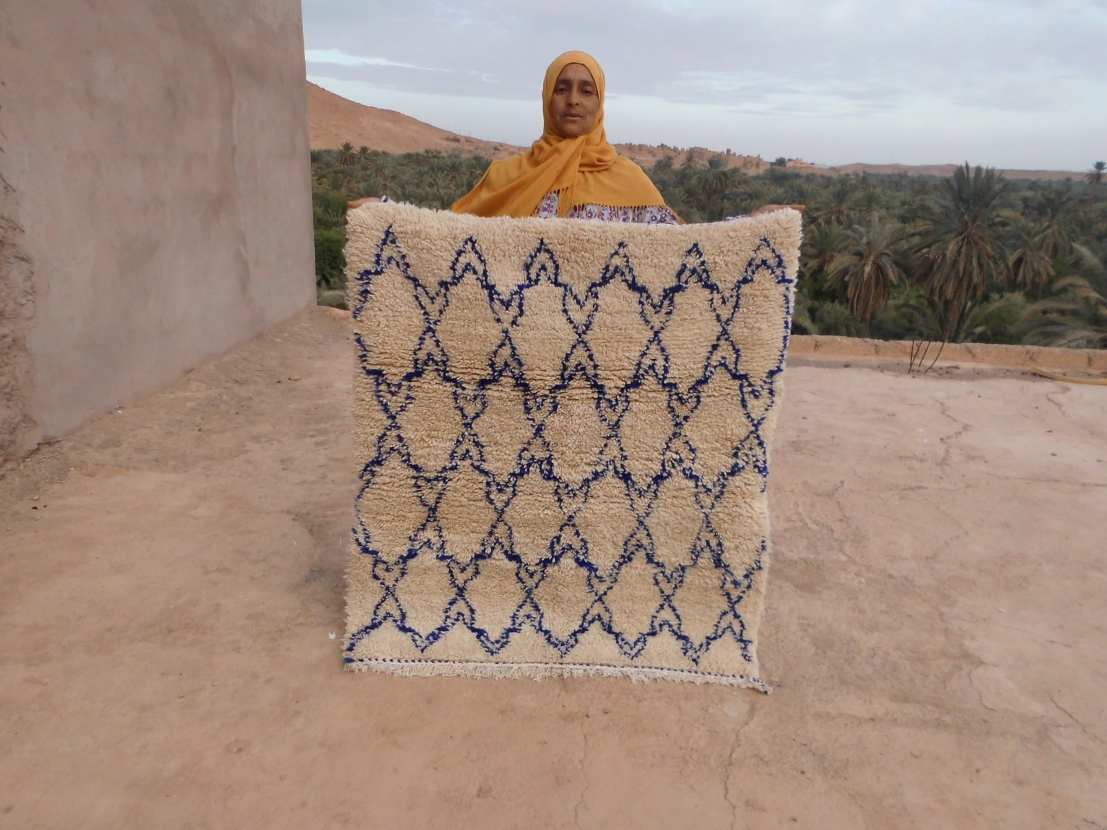Pile Knot Rug  Blue, White Morocco