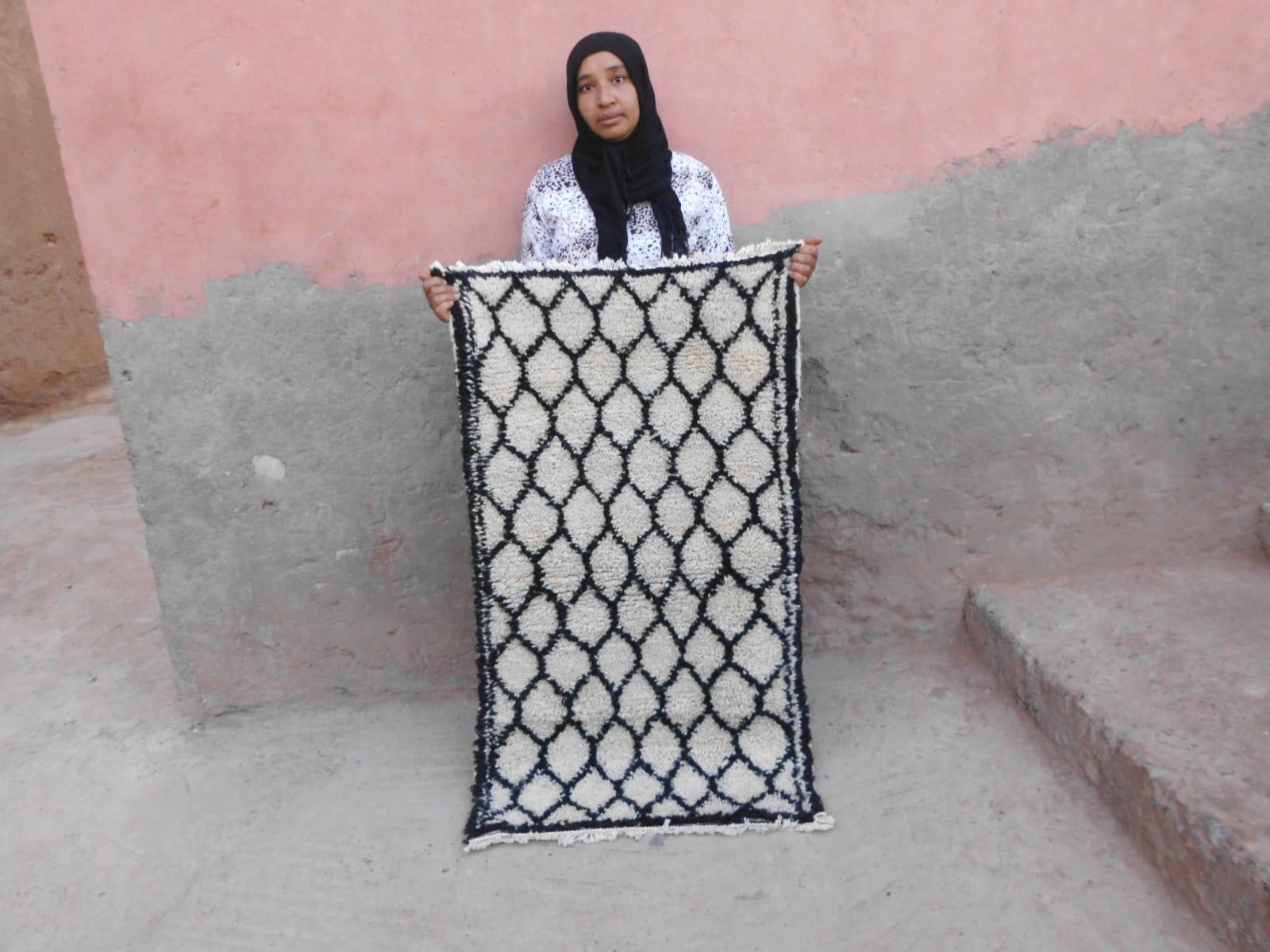 Pile Knot Rug  Black, White Morocco