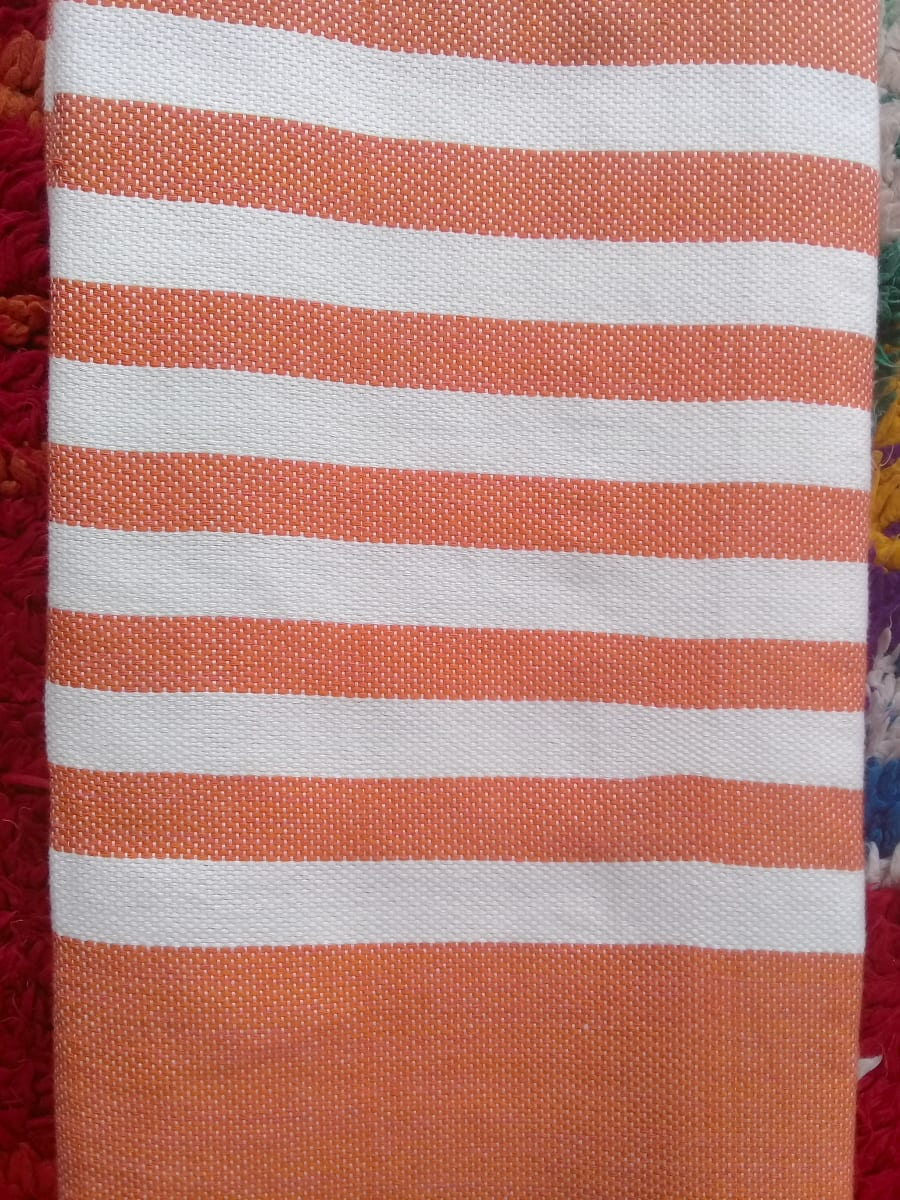 Towel Cotton Thread Orange, White Morocco
