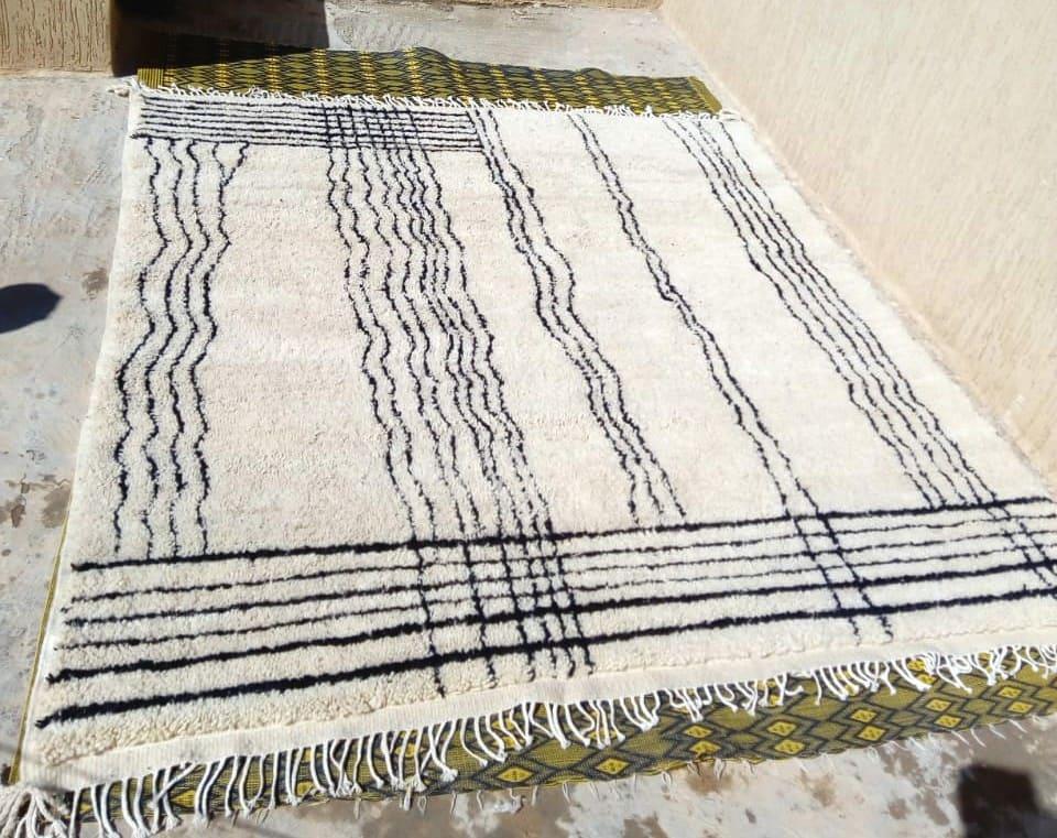 Beni Ourain Rug Wool Black, White Morocco