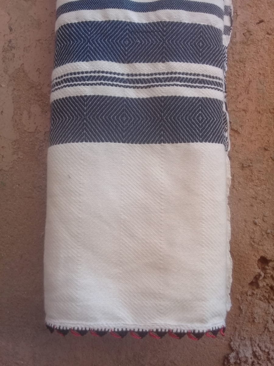 Shawl Cotton Thread Orange, Black Morocco