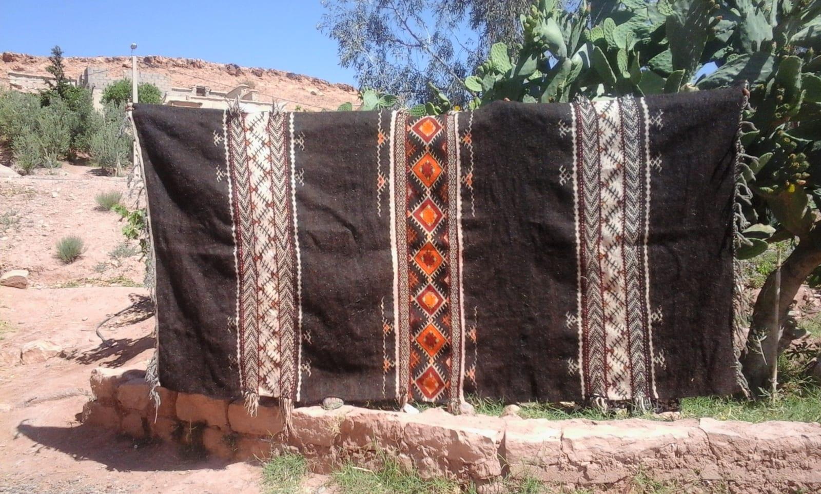 Flatweave Rug Goat Hair  Colored Morocco