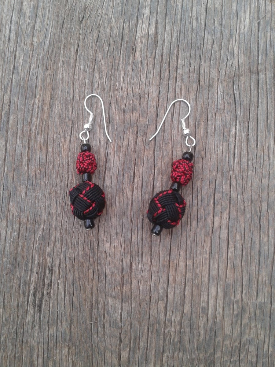 Ball and Button Earrings  Red, Black Morocco