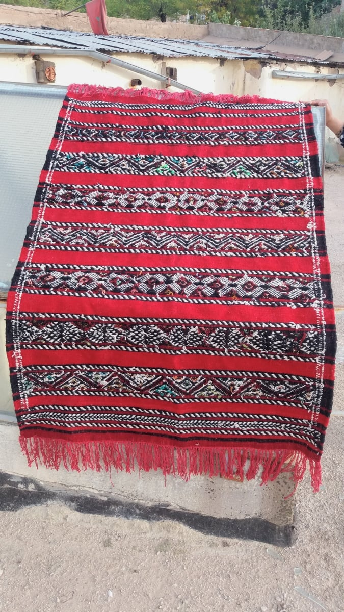 Hanbel Dyed Wool Red, Black Morocco