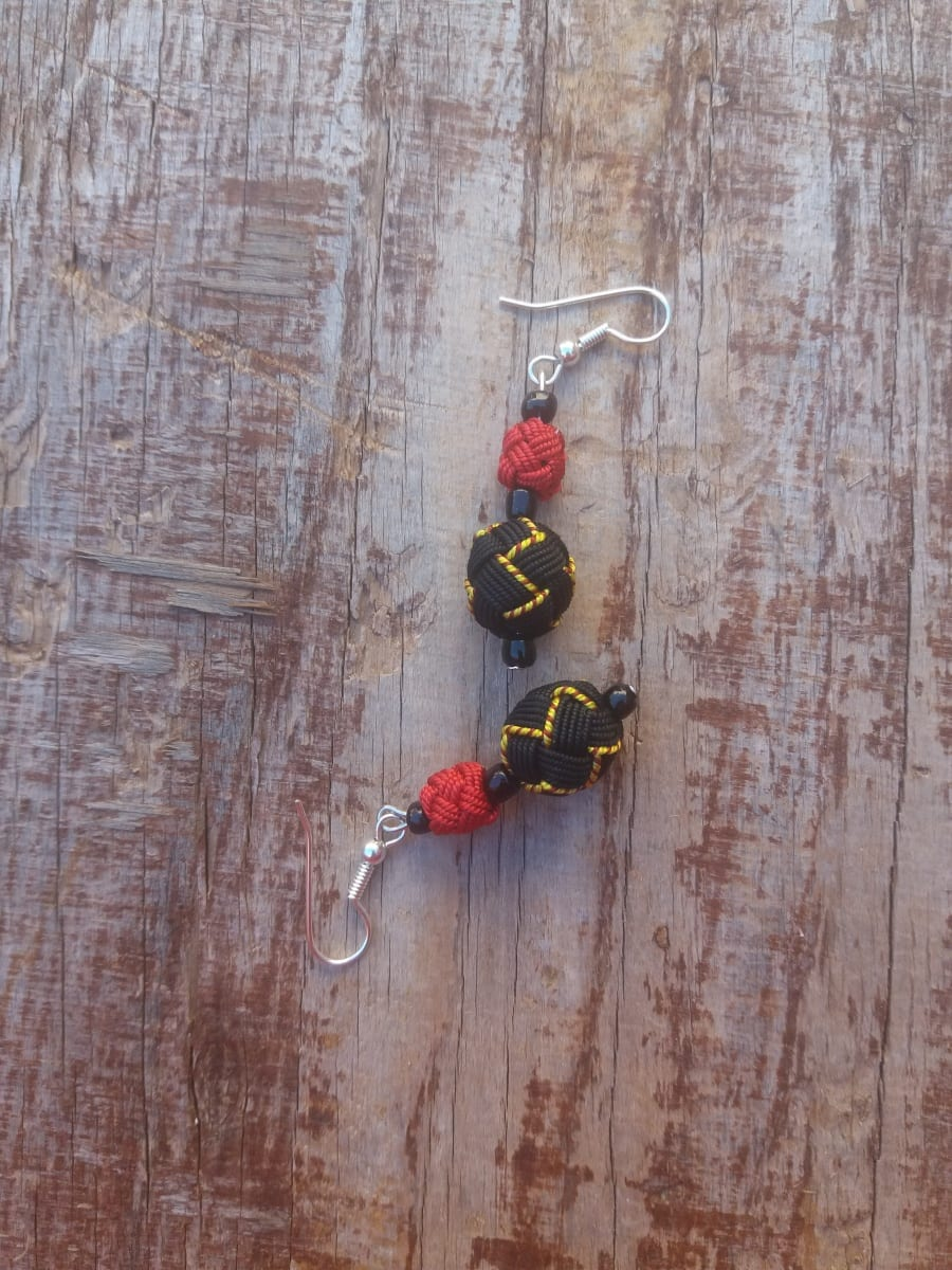 Ball and Button Earrings  Red, Yellow Morocco