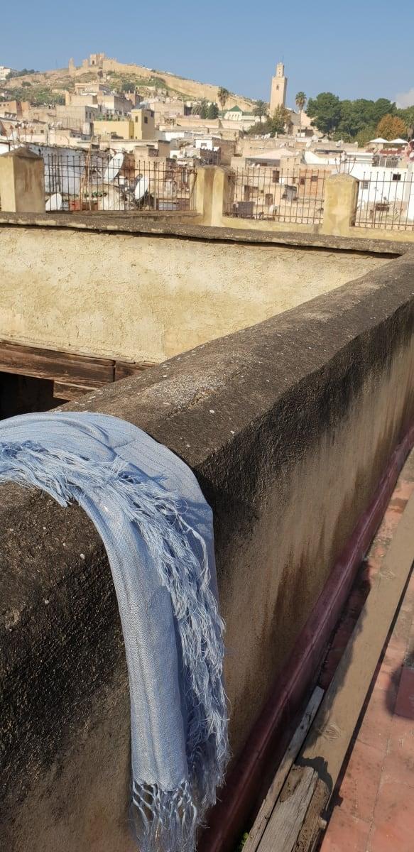 Scarf Cotton string Light Blue Morocco