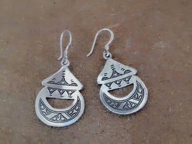 Earrings 800 Tiznit Silver Black, White Morocco