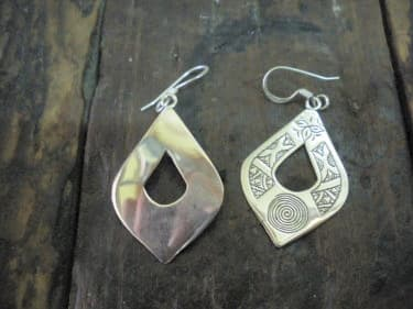 Earrings 800 Tiznit Silver Black, White Morocco