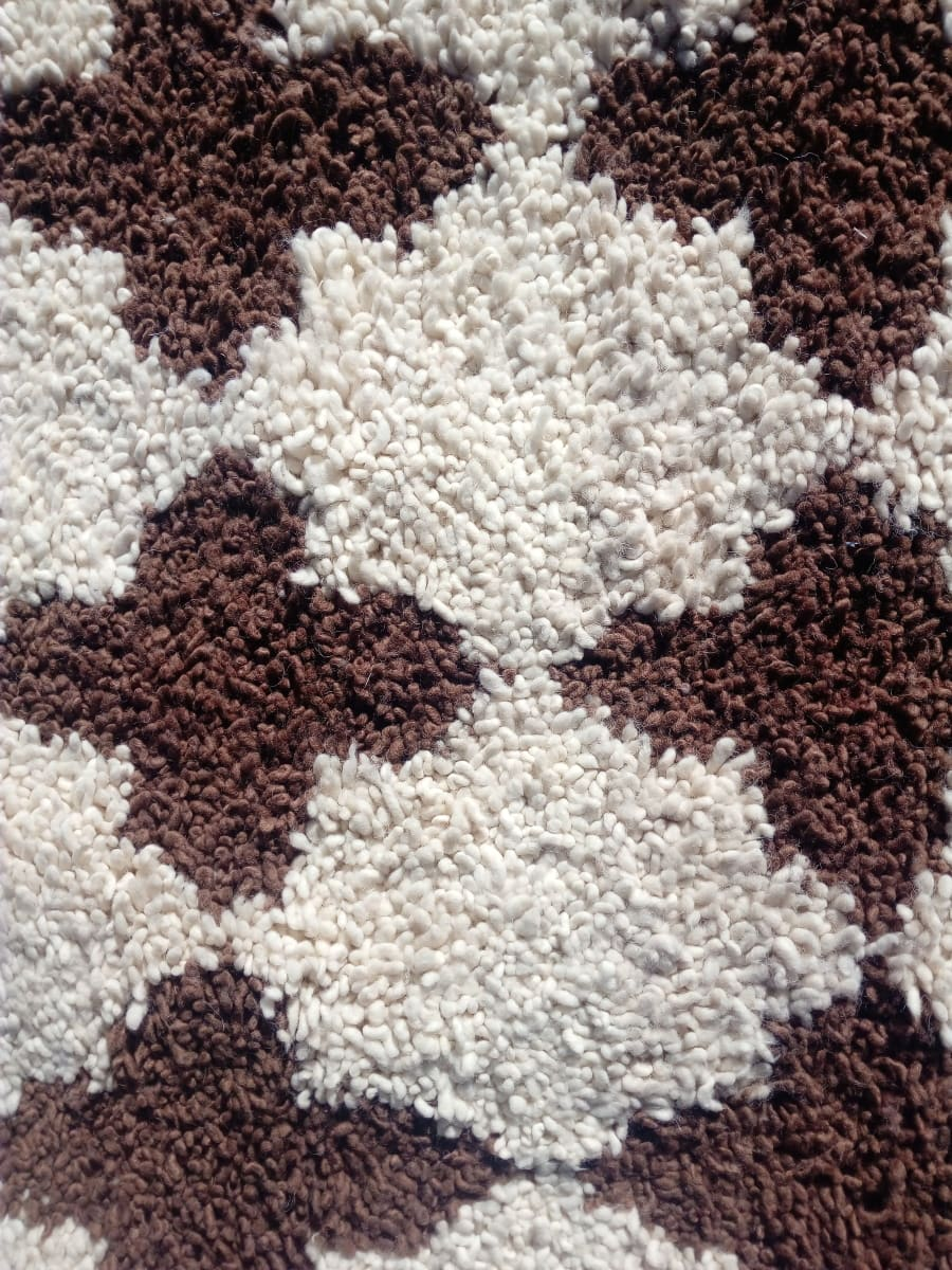 Pile Knot Rug Pomegranite Brown, White Morocco