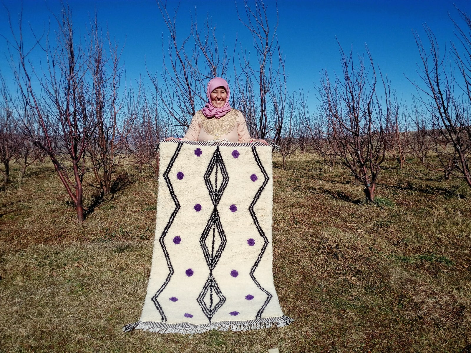 Pile Knot Rug Wool Purple, Black Morocco