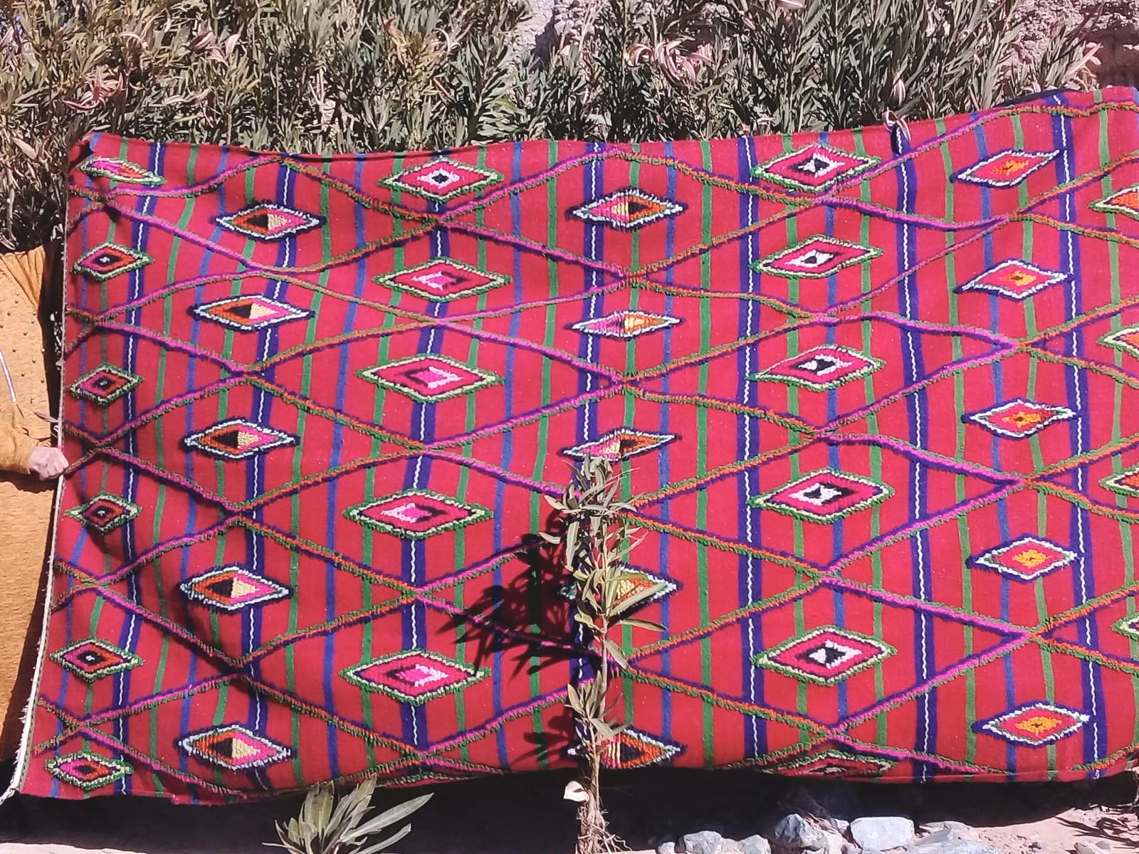 Flatweave Rug Wool Colored Morocco