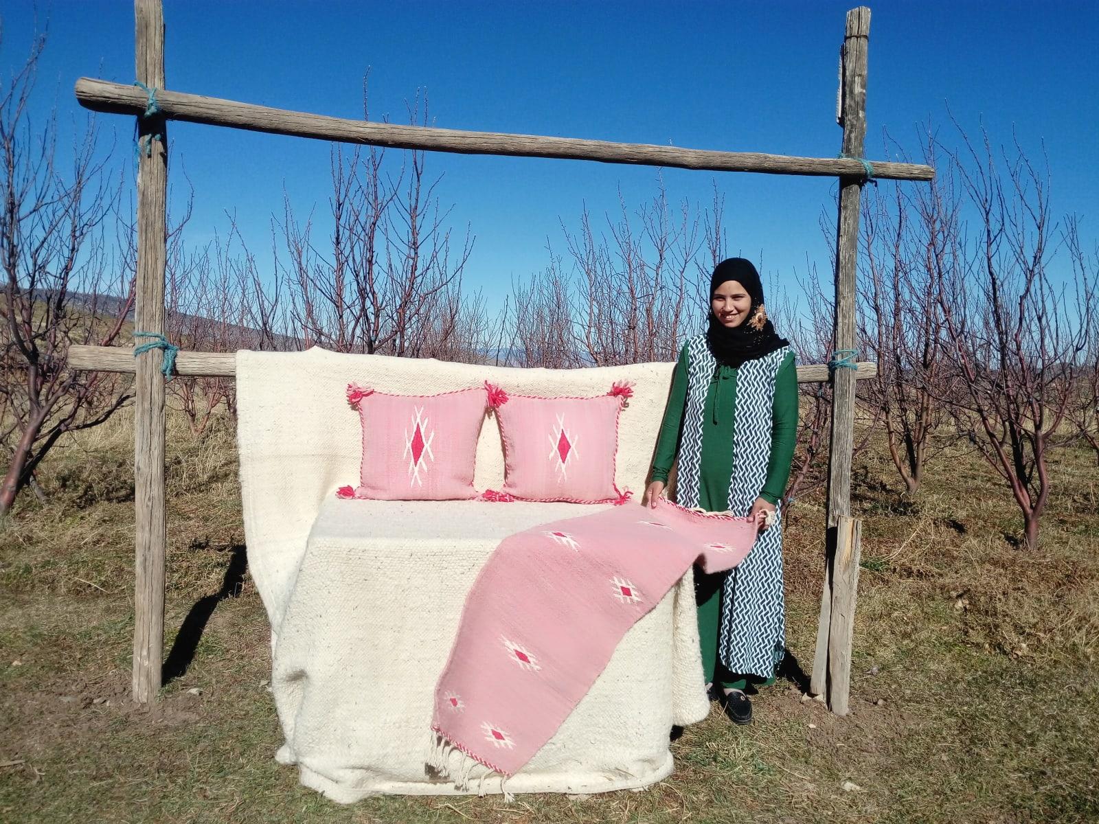 Hanbal Wool Red, Pink Morocco