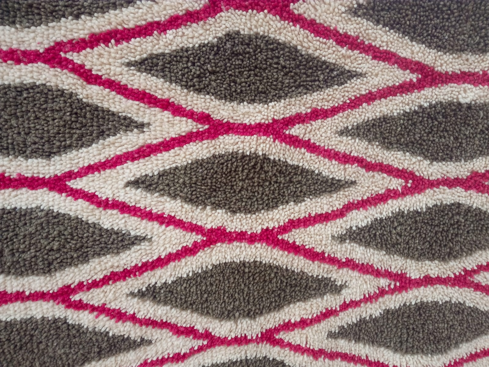 Pile Knot Rug Wool Red, Green Morocco
