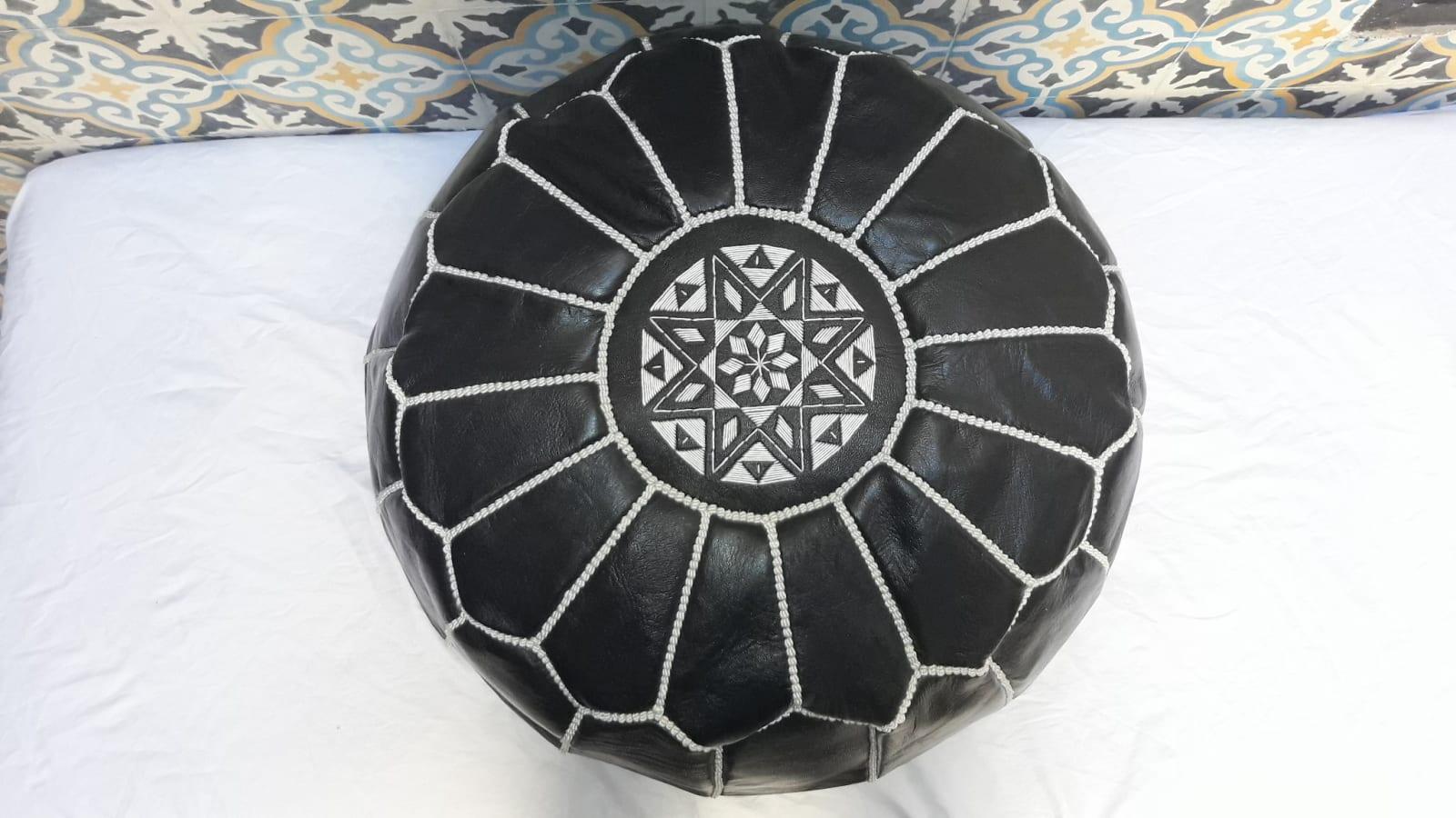 Pouf leather and Sabra silk Black, White Morocco