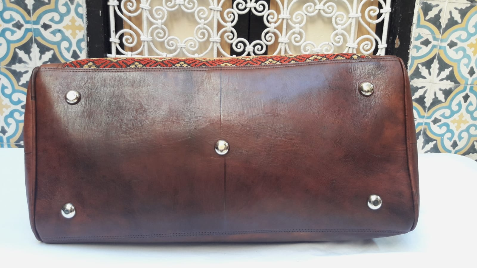 bag leather and Sabra silk Brown Morocco