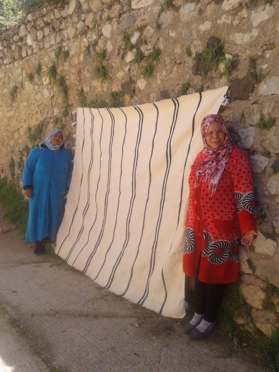 Flatweave Rug Wool Black, White Morocco