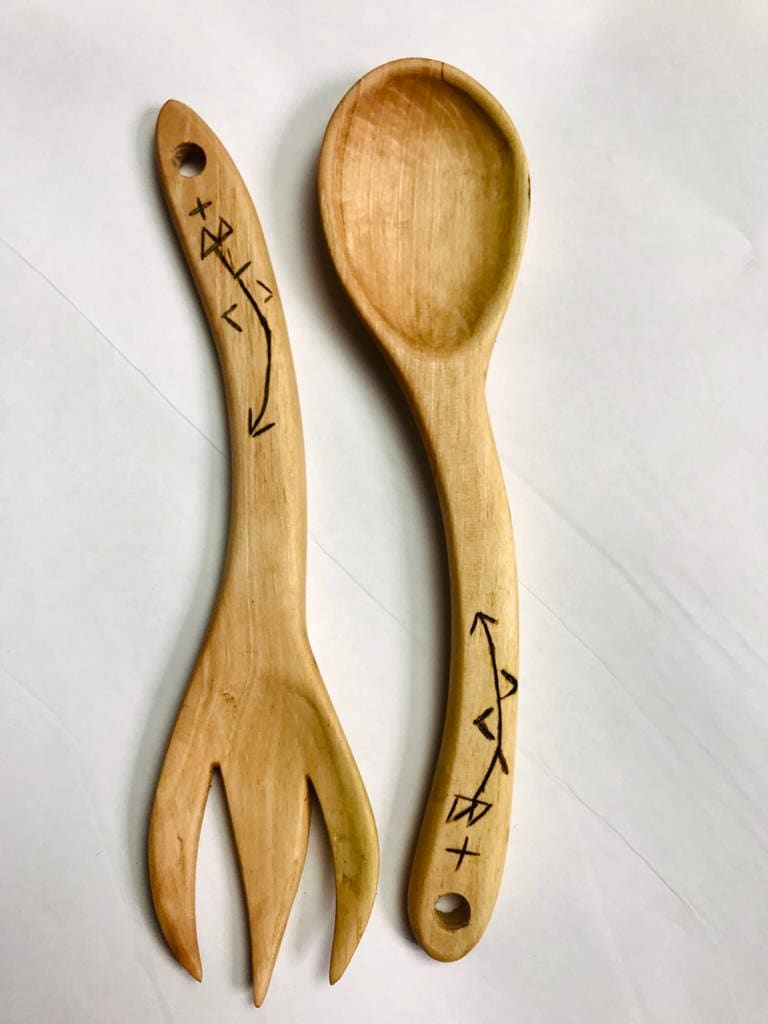 Hand Carved Set Walnut Wood Brown Morocco