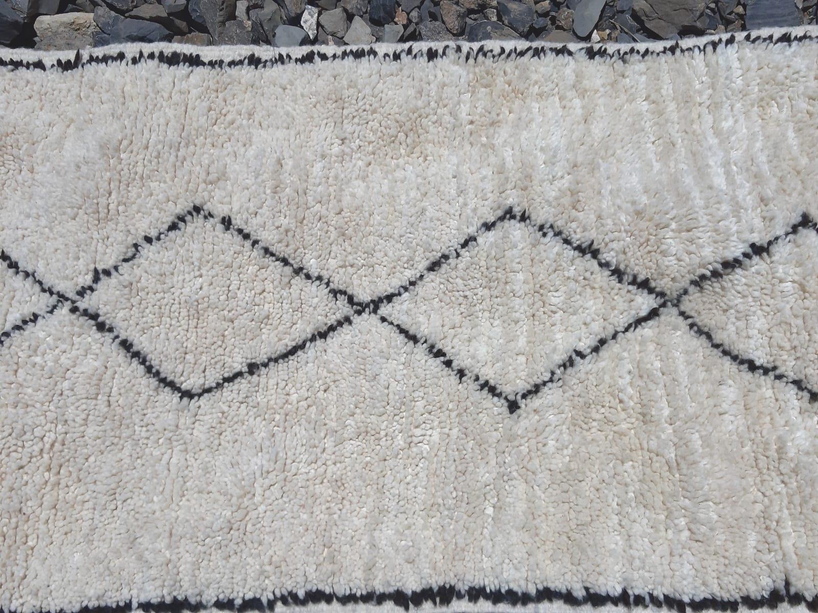 Beni Ourain Rug Thread Black, White Morocco