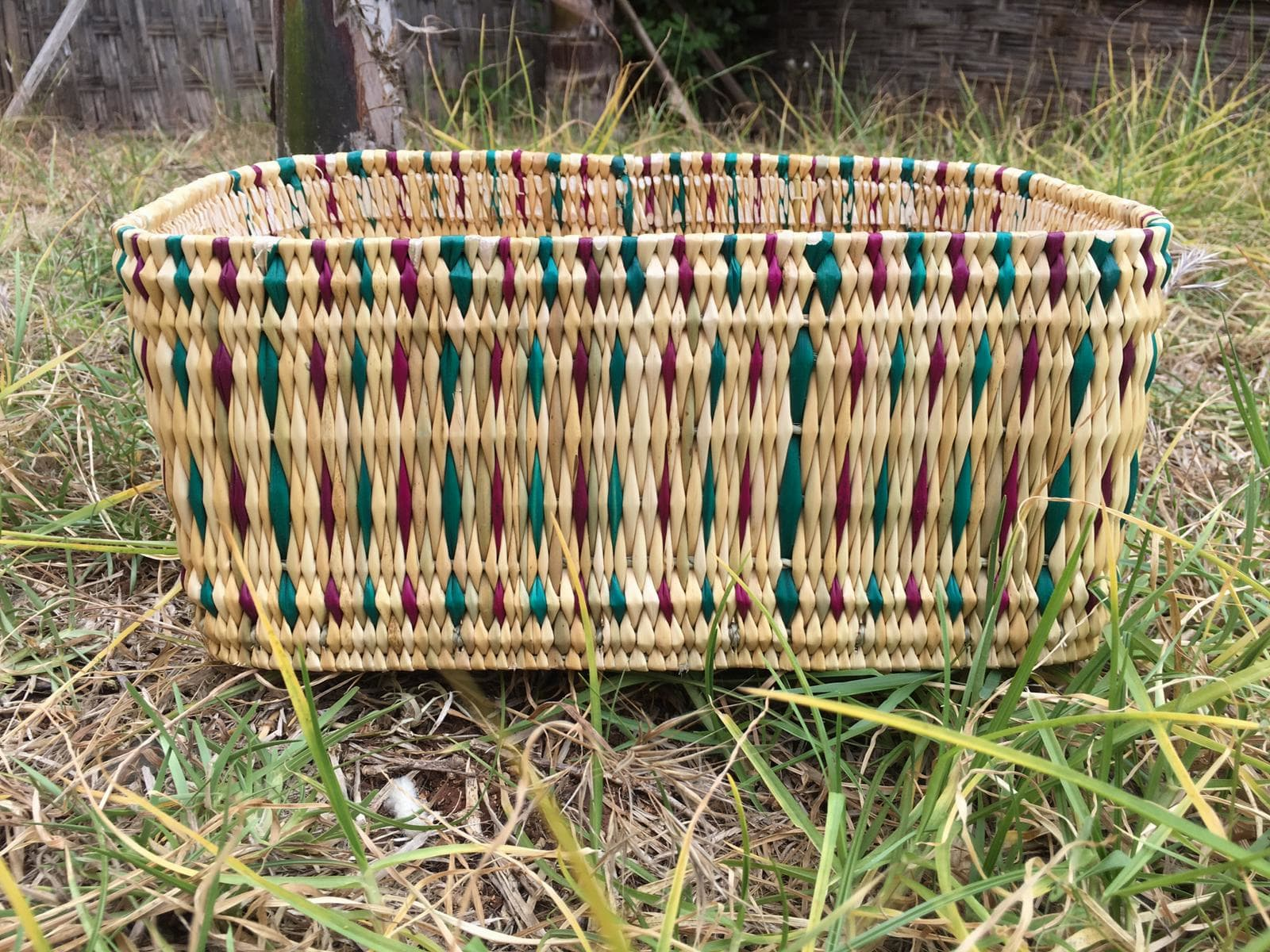 Nesting Baskets Water Reed Red, Green Morocco